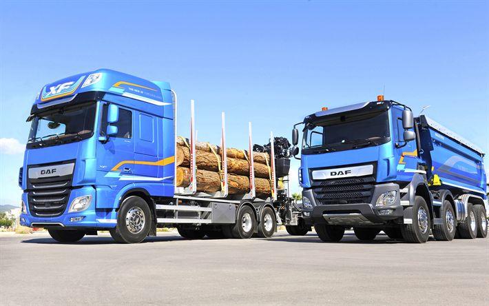 Download wallpapers DAF XF, 4k, DAF CF, 2017 truck, Vocational Trucks, timber carrier, DAF