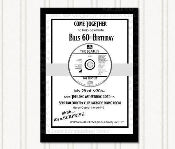 Beatles Party Invitation by GingerSnapsOriginal on Etsy, $16.50