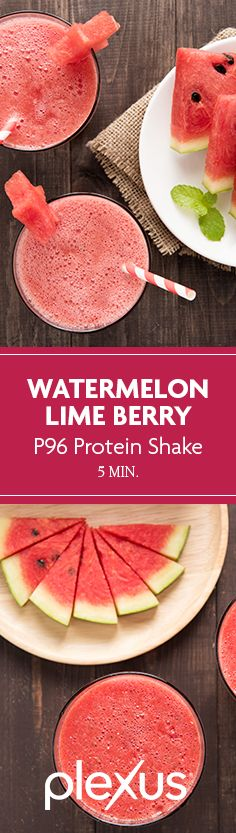 The perfect combination of sweet and tart. You'll love this watermelon + strawberry smoothie. And the freshly squeezed lime juice gives it a refreshing kick, perfect for the hot summer months. And thanks to the protein packet, you'll be getting enough protein to keep you energized and full during those fun summer activities. Plexus 96® Watermelon Berry Lime Protein Shake for the win!*