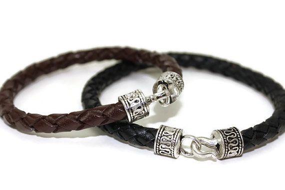Mens leather bracelet  braided leather bracelet  by LuckyBeadsBox