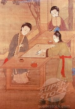 chinese ladies playing go, painting, qing dynasty.