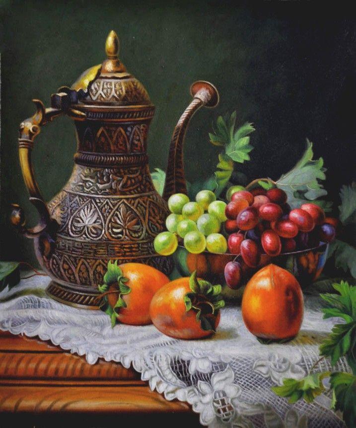 杜海燕《带酒壶的静物》-博宝油画网