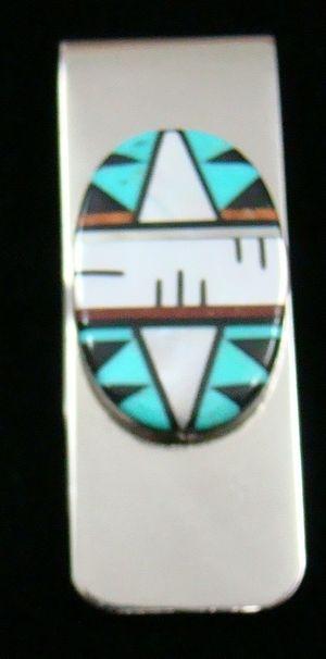 Item #804B- Zuni Multistone Geometrical Inlay Sterling Money Clip