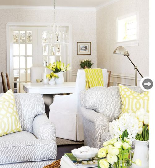 Grey, White, Yellow: Dining Rooms, Spaces, Colors Combos, Living Rooms, Chairs Fabrics, Colors Schemes, Yellow Accent, Style At Home, Pillows