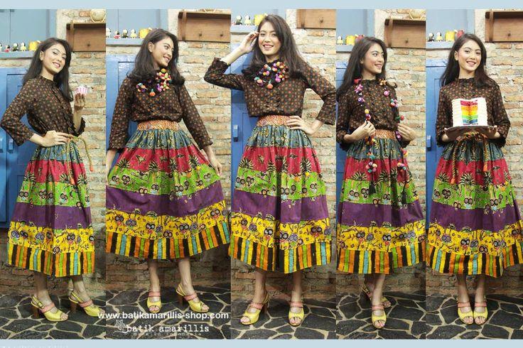 Batik Amarillis made in Indonesia www.batikamarillis-shop.com    Batik Amarillis's Birthday skirt , celebrating Batik Amarillis 7th Anniversary with 7 layers of beautiful hand drawn batik wonogiren patchwork Maxi skirt!!