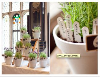 Lavender pots with guest names as seating plan