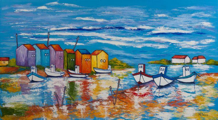 Fishing Village Art Print, Original Art Print, Boats, Beach, Wall Decor, Modern…