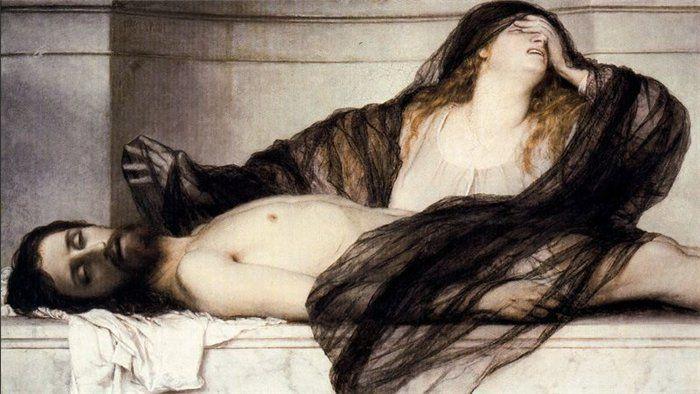 "http://i023.radikal.ru/1310/ba/b0b8b3fbe014.jpg Арнольд Бёклин, ""Плач Марии Магдалины над телом Христа"", 1868  г."