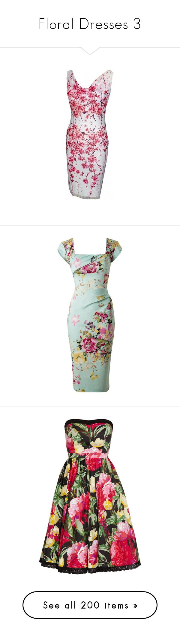 """""""Floral Dresses 3"""" by franceseattle ❤ liked on Polyvore featuring dresses, multiple colors, multi colored dress, lining sleeveless dress, cherry blossom print dress, pink dress, cowl dress, flower printed dress, green floral print dress and mint floral dress"""