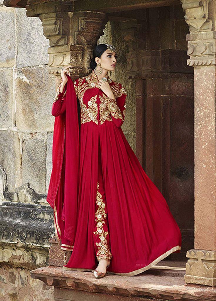 Red Georgette Designer Anarkali Suit 63412