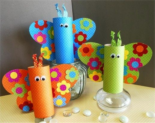 cute-spring-crafts-for-kids, very cute could use as party decorations as well at a rainbow themed birthday party or butterfly garden party.