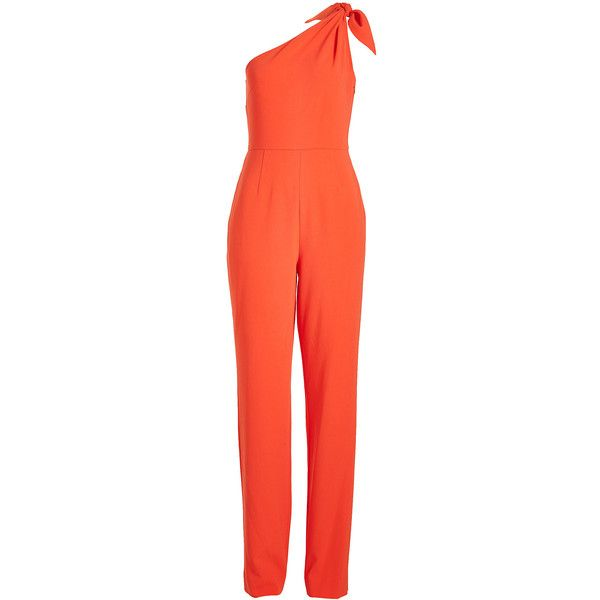 Diane von Furstenberg One-Shoulder Jumpsuit ($530) ❤ liked on Polyvore featuring jumpsuits, red, diane von furstenberg jumpsuit, diane von furstenberg, crepe jumpsuit, red jump suit and one sleeve jumpsuit