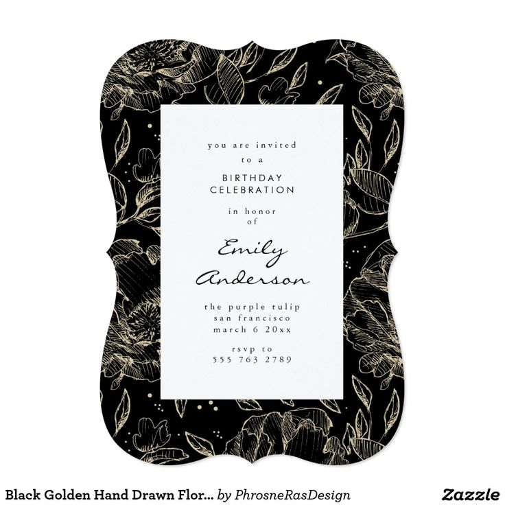 Black Golden Hand Drawn Floral Elegant Invitation #zazzle #invitation #stationery #tabletop #flowers #floral #organic #original #illustration #designer #suite #elegant #stylish #phrosneras #phrosnerasdesign #calligraphy