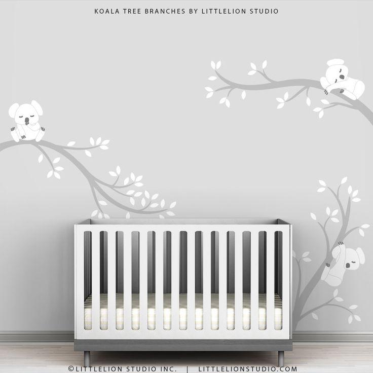 Kids Wall Stickers arbre blanc stickers gris et par TheKoalaStore
