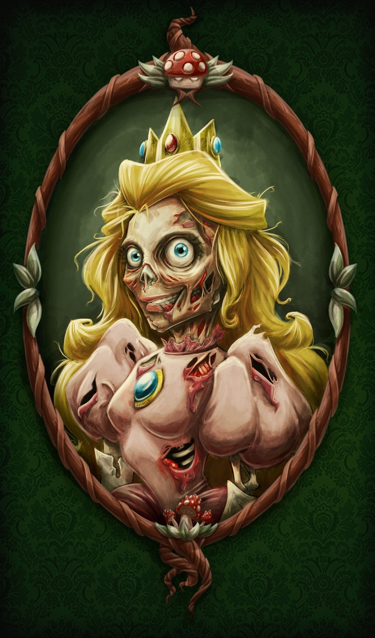 Zombified Princess Peach. I want a print of this. Framed and hanging in the…                                                                                                                                                                                 Plus