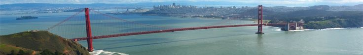 San Francisco - View of the Golden Gate Bridge, taken from the Marin Headlands, looking across the bay back towards San Francisco, seen in the distance.
