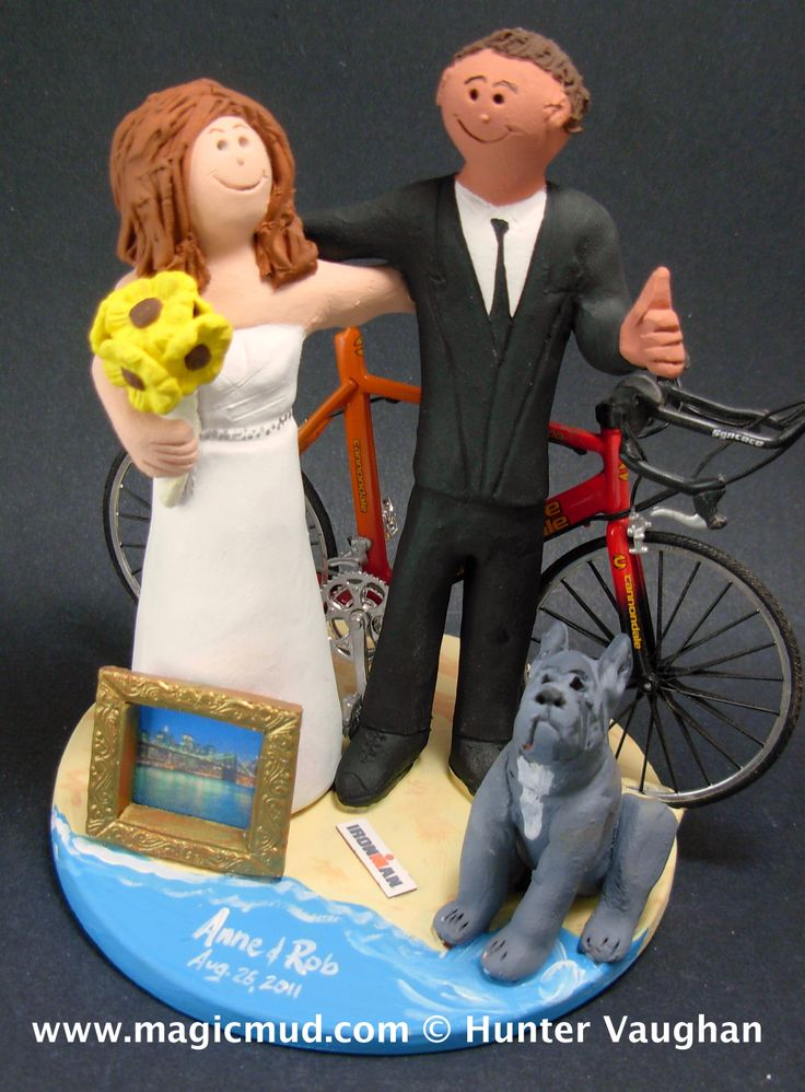 Sunflower Bouquet Wedding Cake Topper by http://www.magicmud.com   1 800 231 9814  magicmud@magicmud.com  http://blog.magicmud.com  https://twitter.com/caketoppers         https://www.facebook.com/PersonalizedWeddingCakeToppers  #bicycle#bike#cyclist#mountain_bike#wedding #cake #toppers  #custom #personalized #Groom #bride #anniversary #birthday#weddingcaketoppers#cake toppers#figurine#gift#wedding cake toppers
