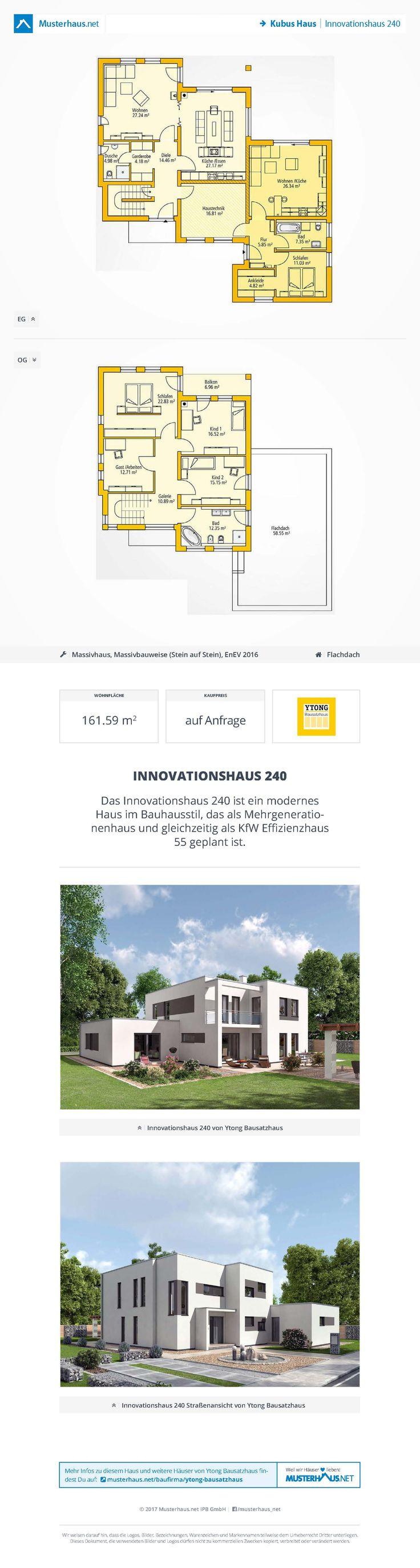 Mehr-Generationenhaus im Kubus-Stil • Innovationshaus 240 • Ytong Bausatzhaus • Jetzt bei Musterhaus.net Unterlagen anfordern!