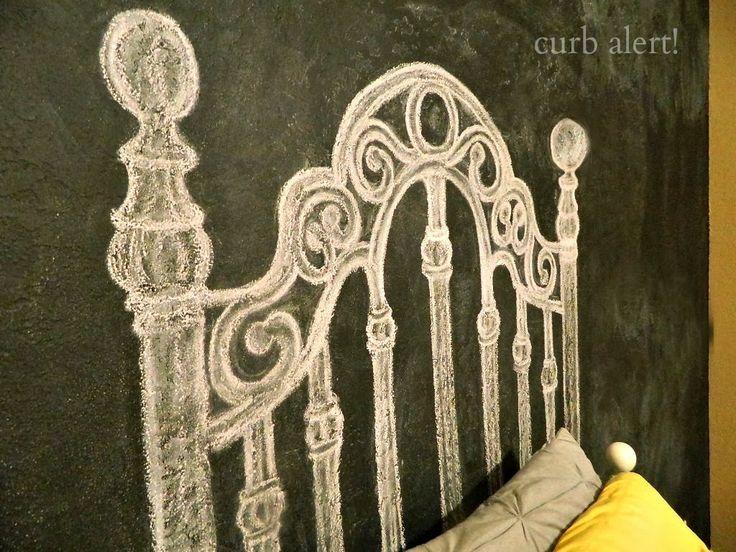 DIY Chalkboard Headboard. Paint a wall with chalkboard paint behind the bed. Cute idea!