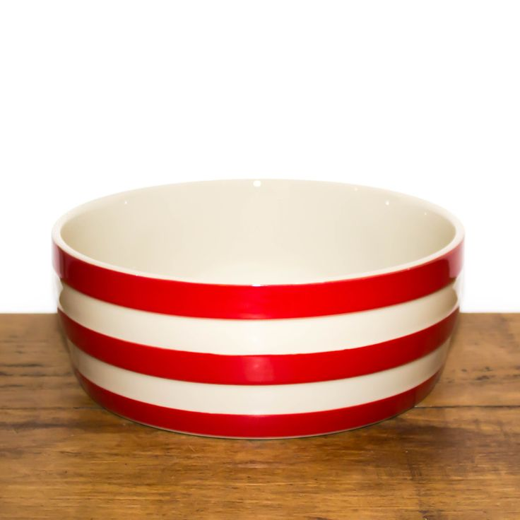 Cornishware red and white striped bowl.