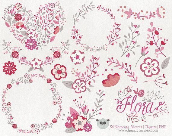 Flora 05  Flowers  Floral  Vector  Graphics  by HappyTarsier