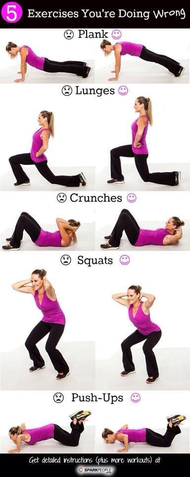 Are you doing it right? #exercise #squat #lunge #plank #crunch #pushup