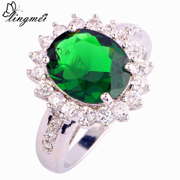 lingmei Wholesale Chic Rings Oval Cut Green  White CZ Silver Ring Size 6 7 8 9 10 New Women Jewelry Free Shipping