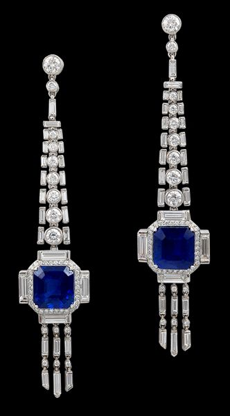 Sapphire and diamond earrings, set in platinum. 21st century