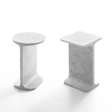International designers including James Irvine, Konstantin Grcic and Jasper Morrison created a collection of marble furniture for Italian stone company Marsotto Edizioni