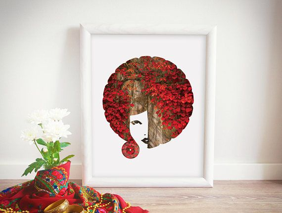 Afro Art Download Funky Poster Pretty African American Girl