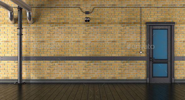 Empty Room With Brick Wall And Closed Door Brick Wall Empty