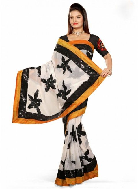 Lush Off White Color Net Based Embroidered #Saree