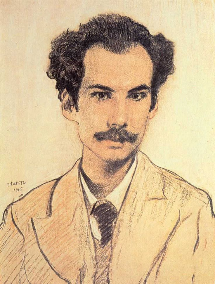 Portrait of Boris Nikolayevich Bugaev (Andrey Bely) by Leon Bakst — Found via Artful for Mac — http://artfulmac.com