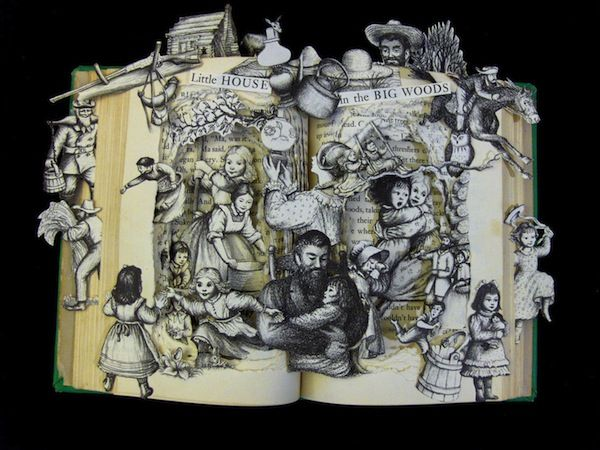 Little House in the Big Woods - Children's book sculpture by Kelly Campbell Berry, via Flavorwire