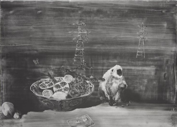 Christopher Cook 'Forbidden Fruit'  graphite and oil on paper 72 x 102cm 2017 First prize in 'New Light' exhibition, opened at the Bowes Museum, Co. Durham, November 2017