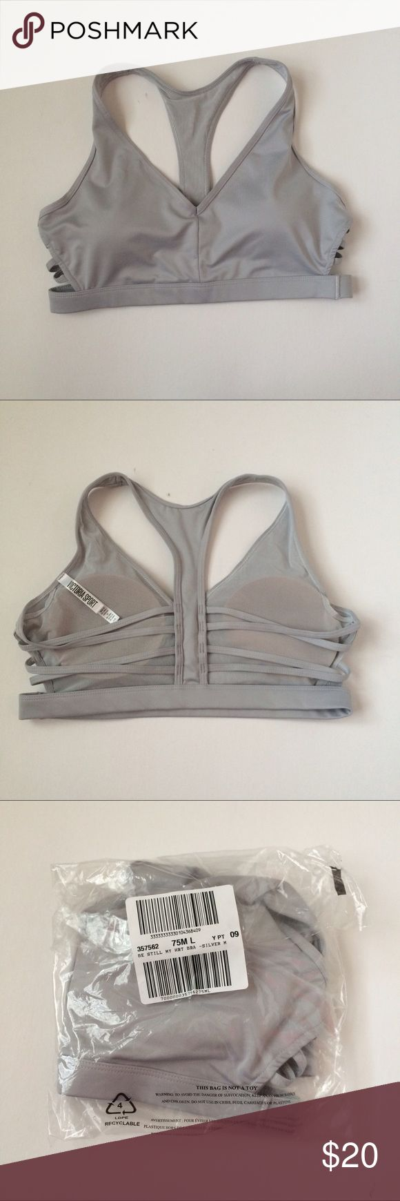 🆕(M) VS Sports Bra NWT Victoria's Secret Caged Racerback Sports Bra in silver, size medium. You need this sexy, strappy, iridescent sports bra in your life! Removable pads, minimum support, cute for the gym or for running errands! My favorite of Victoria's Secret's sports bras. Bundle and save today 💕 Victoria's Secret Intimates & Sleepwear Bras