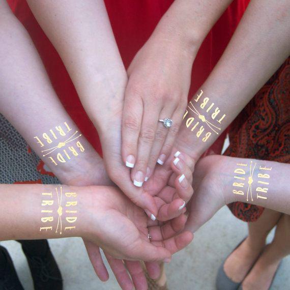 $25 for 10 tattoos  Bride Tribe Gold Flash Tatts Metallic by KristenMcGillivray