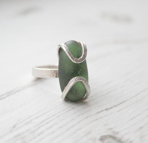 Green Sea Glass Ring Rustic Ring. Sea Glass Jewellery. Green