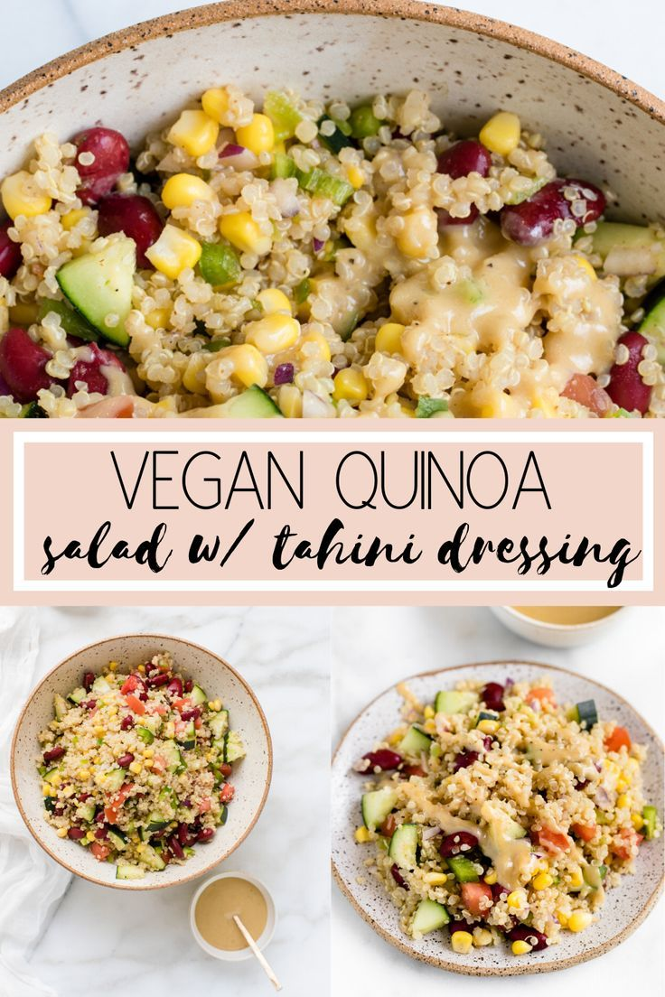 Vegan Quinoa Salad With Tahini Lemon Dressing In 2020 Clean Eating Salads Vegan Quinoa Salad Quinoa Salad Recipes Cold