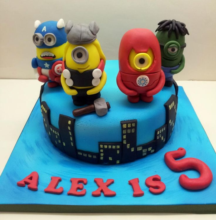 "Minion Avengers. This was an 8"" chocolate sponge with edible minion avenger figures. Had so much fun doing this :o)"
