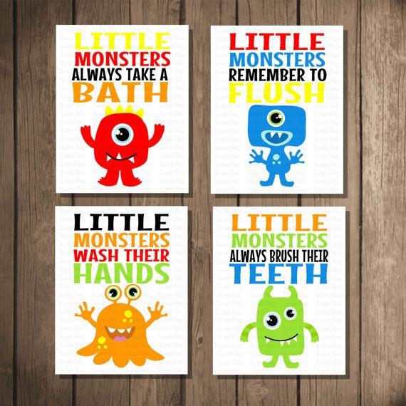 instant download printable monster bathroom art print set kids room decor babychildren