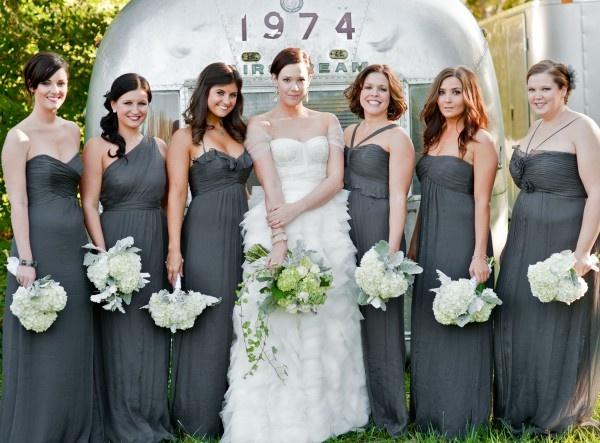 Amsale Bridesmaid Dresses in charcoal