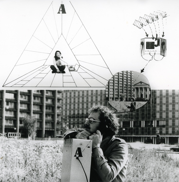 Visionary photomontage by Ugo La Pietra, showing how digital contact can change perception of space. Image courtesy of Ugo La Pietra Archive.