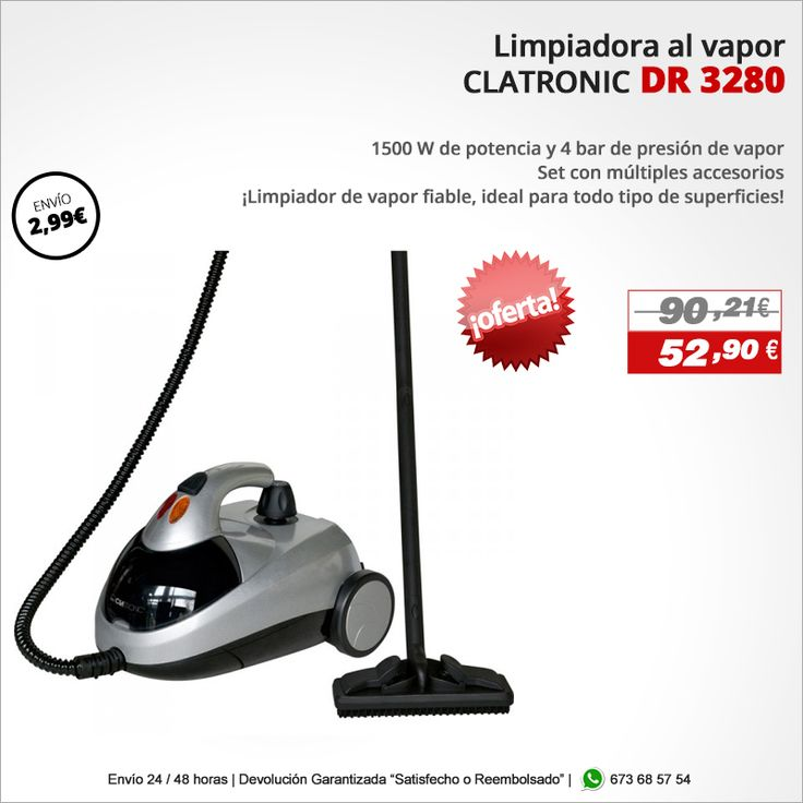 ¡Limpiador de vapor fiable, ideal para todo tipo de superficies! Limpiador al vapor CLATRONIC DR 3280 http://www.electroactiva.com/clatronic-limpiador-al-vapor-dr-3280.html #Elmejorprecio #Limpiadoralvapor #Chollo #Electrodomesticos #PymesUnidas