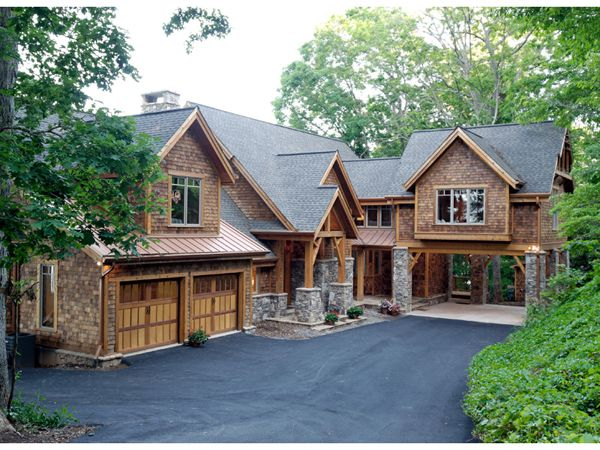 Can't build anything this big, but love the look of this home! - shingles, siding, stone!