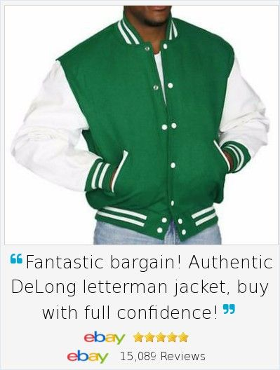 Letterman style jackets are always in fashion, especially this year! Our authentic DeLong Kelly Green Leather and Wool Varsity Letterman Jacket is available in many sizes, this one is NWT 2XL Original price $200. Proudly  Made in USA