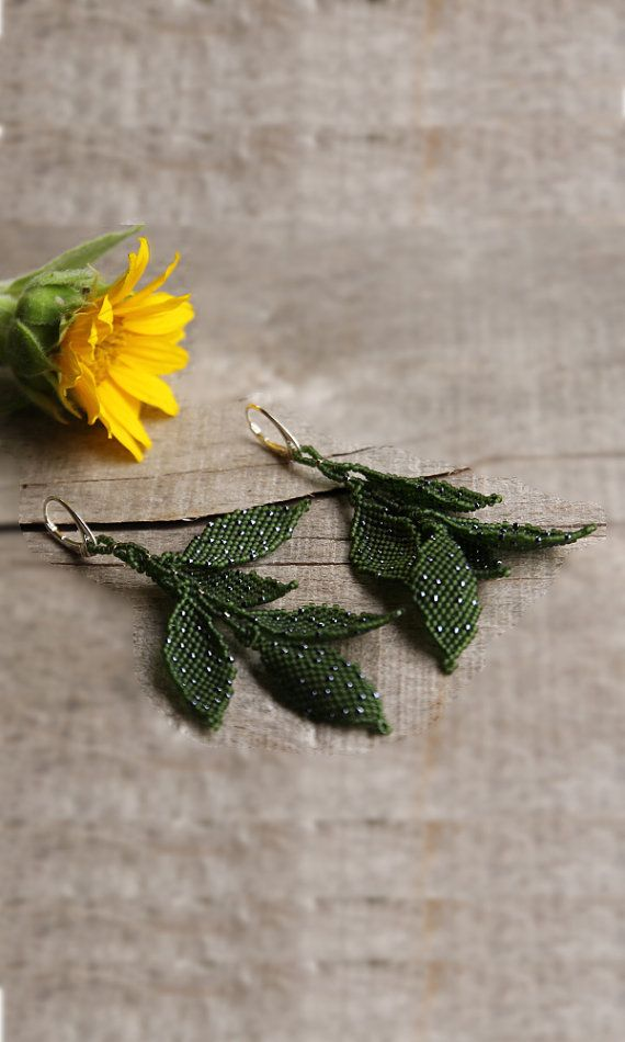 Beadwork leaf earrings, dangling long earring, beades leaves, anniversary gift for her, organic jewelry, nature inspired