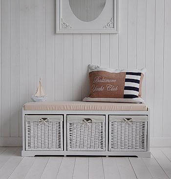 We love The Vermont Storage bench with three white baskets for all your hall  storage needs  A perfect piece of hallway furniture. 101 best Hallway images on Pinterest   Leaded glass  Mosaics and