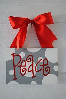 Any word, any color using stencils! Pretty! love the polka dots and the color contrast