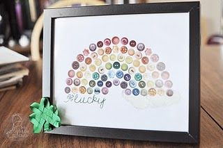 Printable Lucky Button Rainbow! *Love this* Rainbow + buttons - all the work = Best St. Patty Day wall art ever.s of button wall art